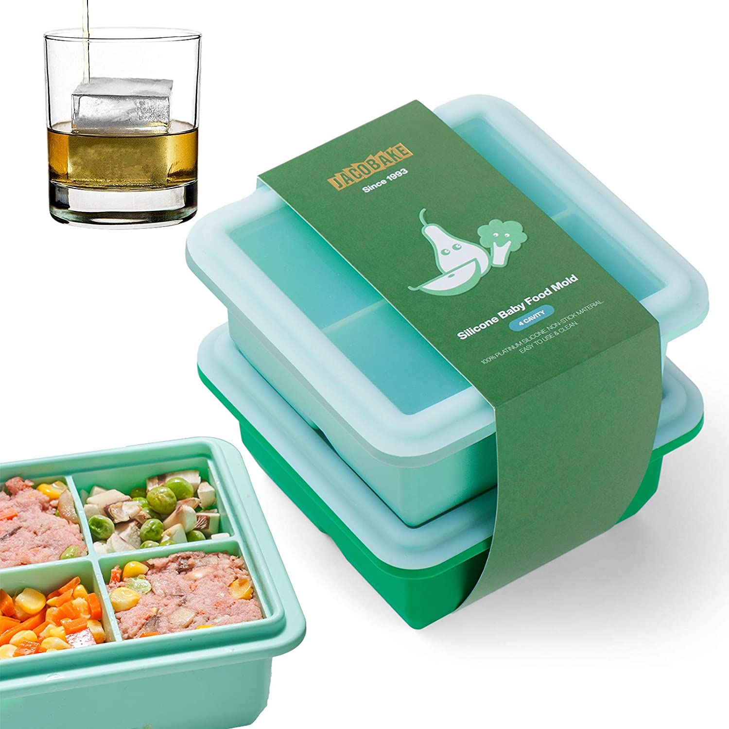 JACOBAKE 2 Pack Large Ice Cube Tray with Lids, BPA Free Reusable Baby Food Freezer Tray, Easy Release Silicone Ice Cube Molds for Whiskey, Cocktails, Flexible and Stackable (4 Cavity, Green)