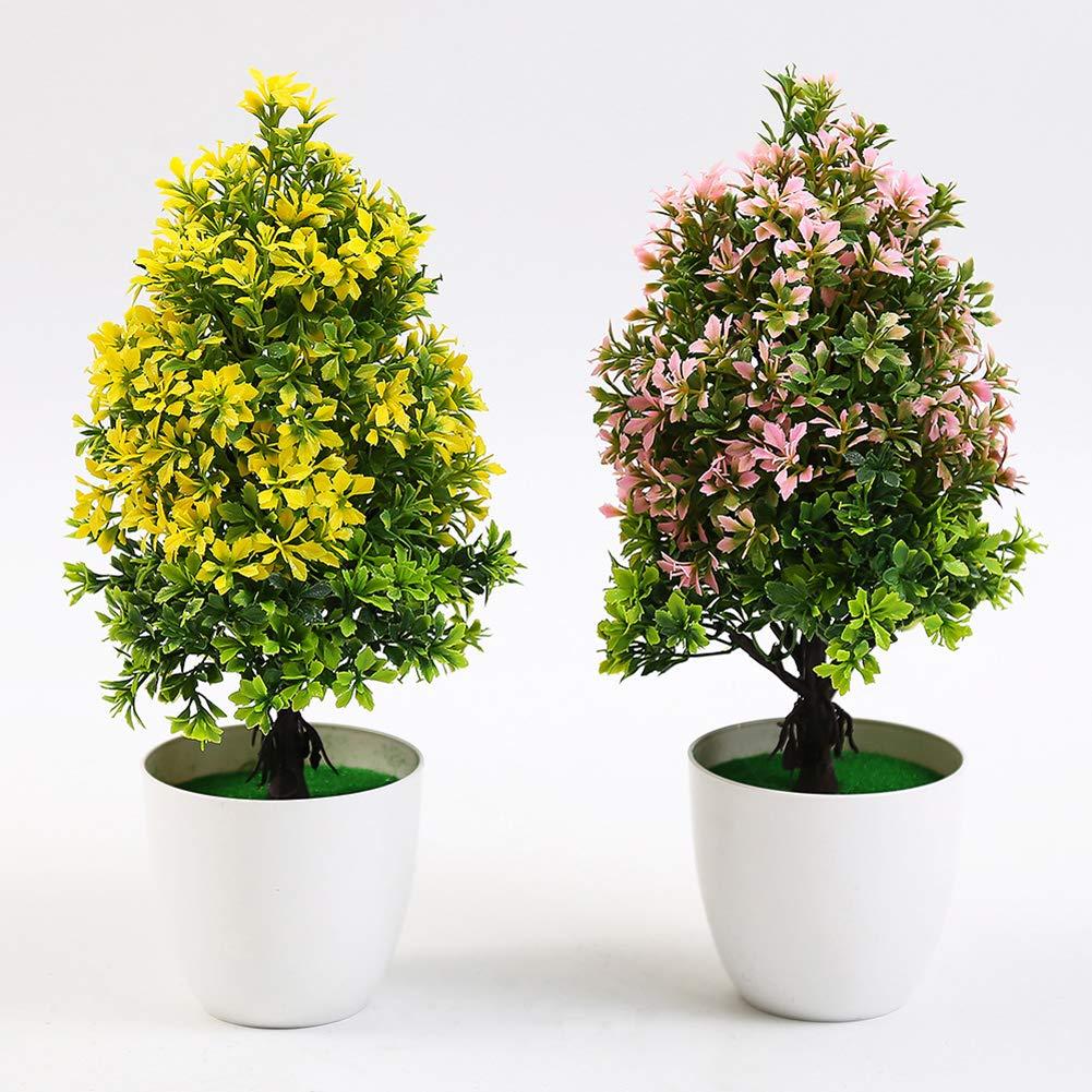 RYcoexs 1 T/êtes en Pot Artificielle Arbre Plante Bonsa/ï Stage Jardin De Mariage Home Party Decor Pink