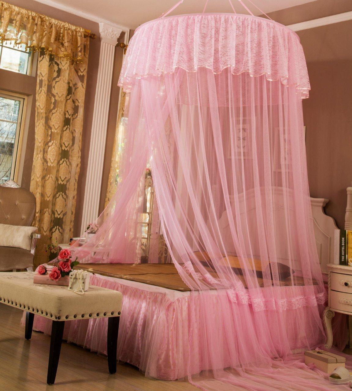 lifewheel romantique Princesse Lit D/ôme Rond Dentelle Filet Canopy moustiquaire rideau