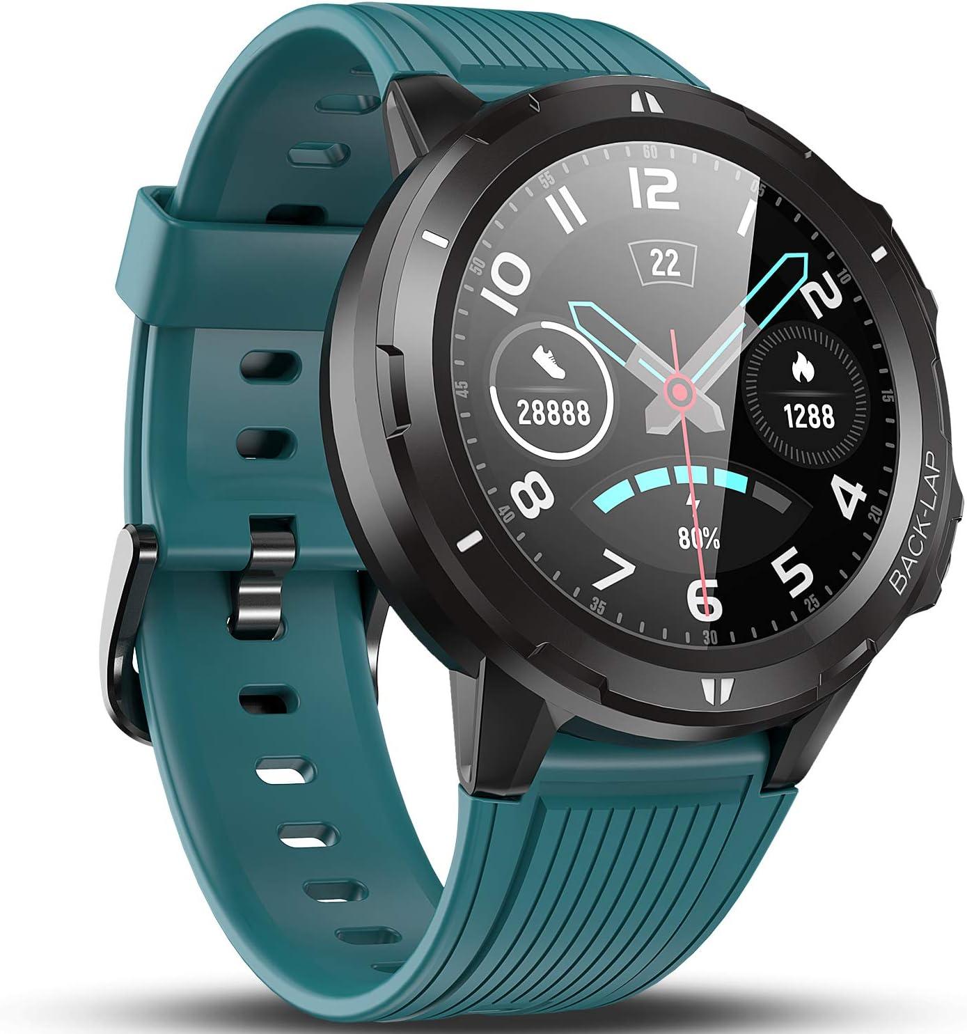 Vigorun Smartwatch Reloj Inteligente Hombre Mujer, Pantalla Táctil Completa Relojes Deportivos, Monitor Ritmo Cardíaco y Sueño, Podómetro, 5 ATM Impermeable Pulsera Actividad Inteligente Android Azul