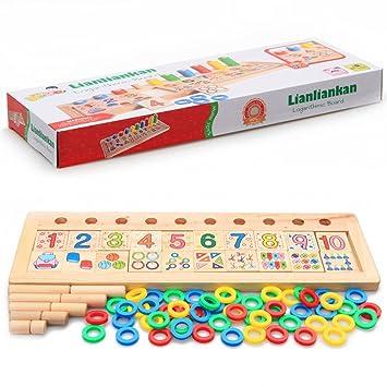 Giocattolo Educativo Bambini Legno Numero Puzzle Montessori Matematica