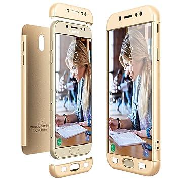 CE-Link Funda Samsung Galaxy J7 2017, Carcasa Fundas para Samsung Galaxy J7 2017, 3 en 1 Desmontable Ultra-Delgado Anti-Arañazos Case Protectora - Oro