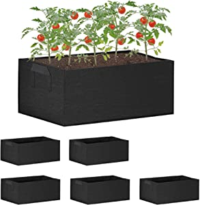 labworkauto Grow Bags 8 Gallon Fabric Raised Plant Bed Rectangular Plant Boxes Grow Pots Garden Containers with Handles Fit for Grow Soil Plants Flowers Vegetables Garden Indoor Outdoor 5 Pcs
