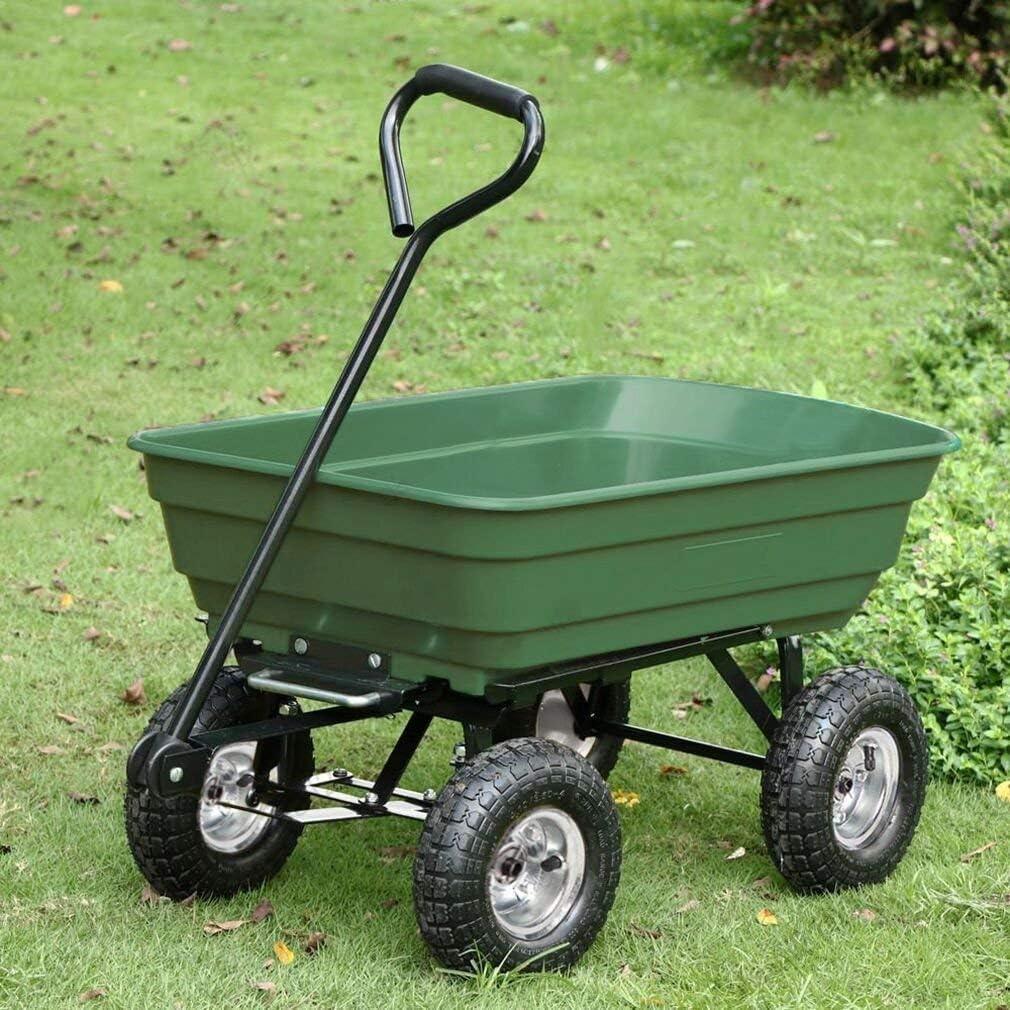 Garden Utility Cart 10 Cu Ft Landscaping Lawn Yard Wagon Wheelbarrow Dump Tool