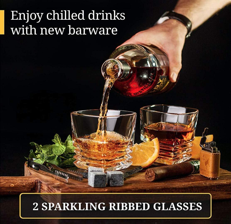 Juego de Regalo de Copas de Cristal Roca - Vaso Scotch con Base Fuerte - Caja de Regalo de Madera - Piedras de enfriamiento para Whiskey de Bourbon ...