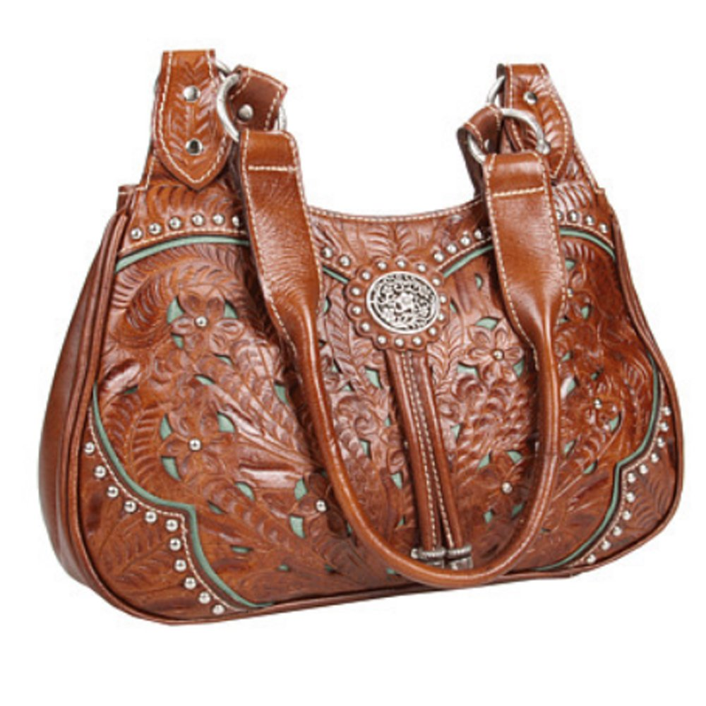 American West Convertible Zip top Bucket Tote w Purse Tag & Key Chain (Lady Lace) by American West