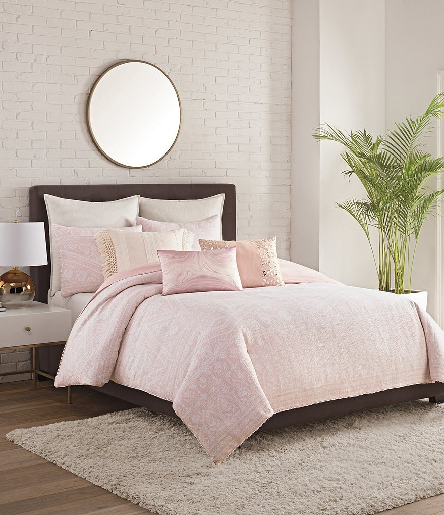 cupcakes and cashmere Overscale Tapestry Floral & Geometric Matelasse Cotton King Duvet Cover - Blush