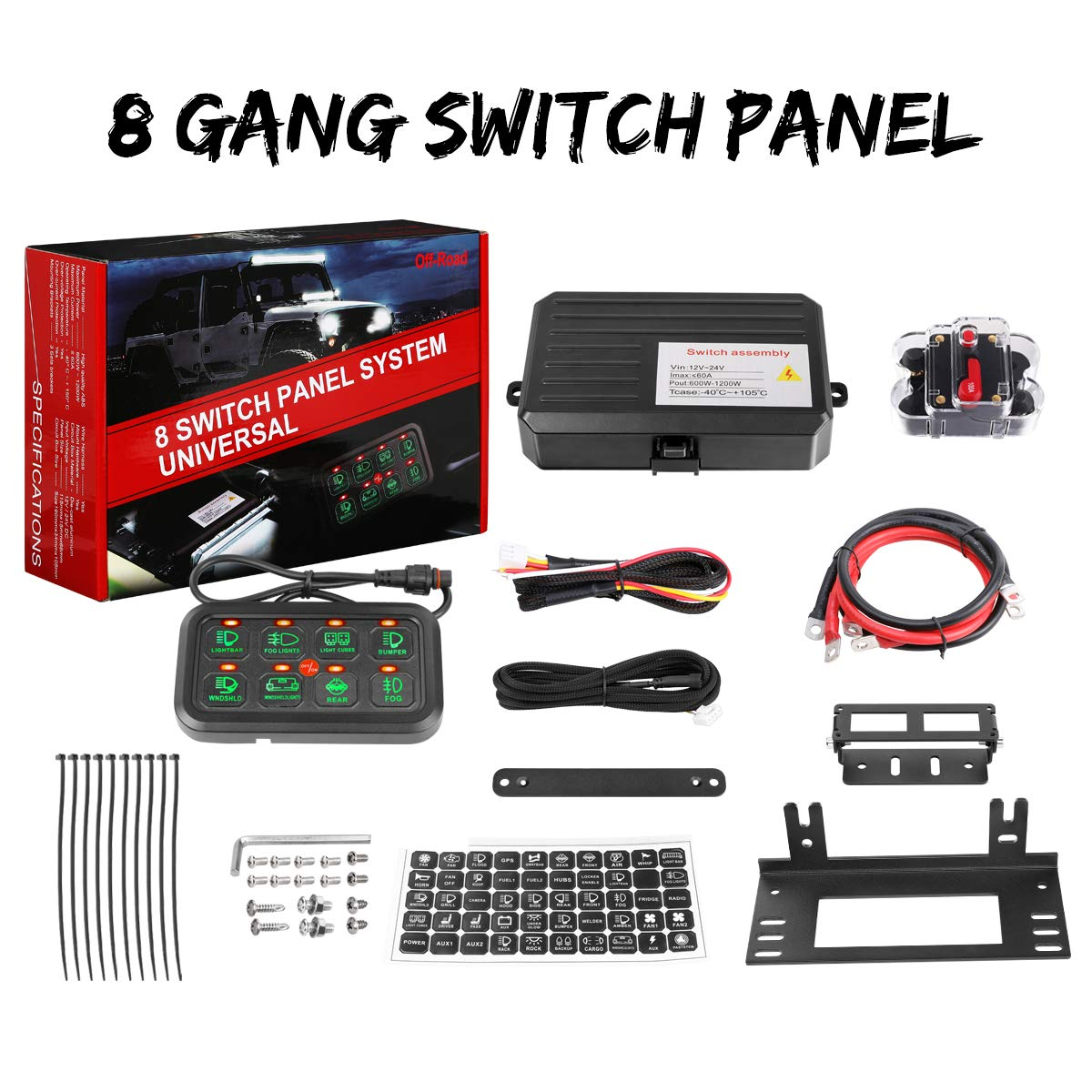 8 Gang Switch Panel, Swatow Industries Electronic Relay System Circuit Control Box Universal Touch Switch Box Power System for Truck Car Jeep ATV UTV Boat Marine Waterproof by SWATOW INDUSTRIES