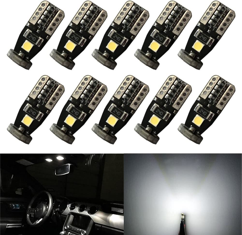 XT AUTO Extremely Bright Canbus Error Free T10 168 194 175 168 2825 Wedge 3030 Chipset Xenon White LED Bulbs for Car Interior Dome Map Door Courtesy License Plate Lights 10-Pack