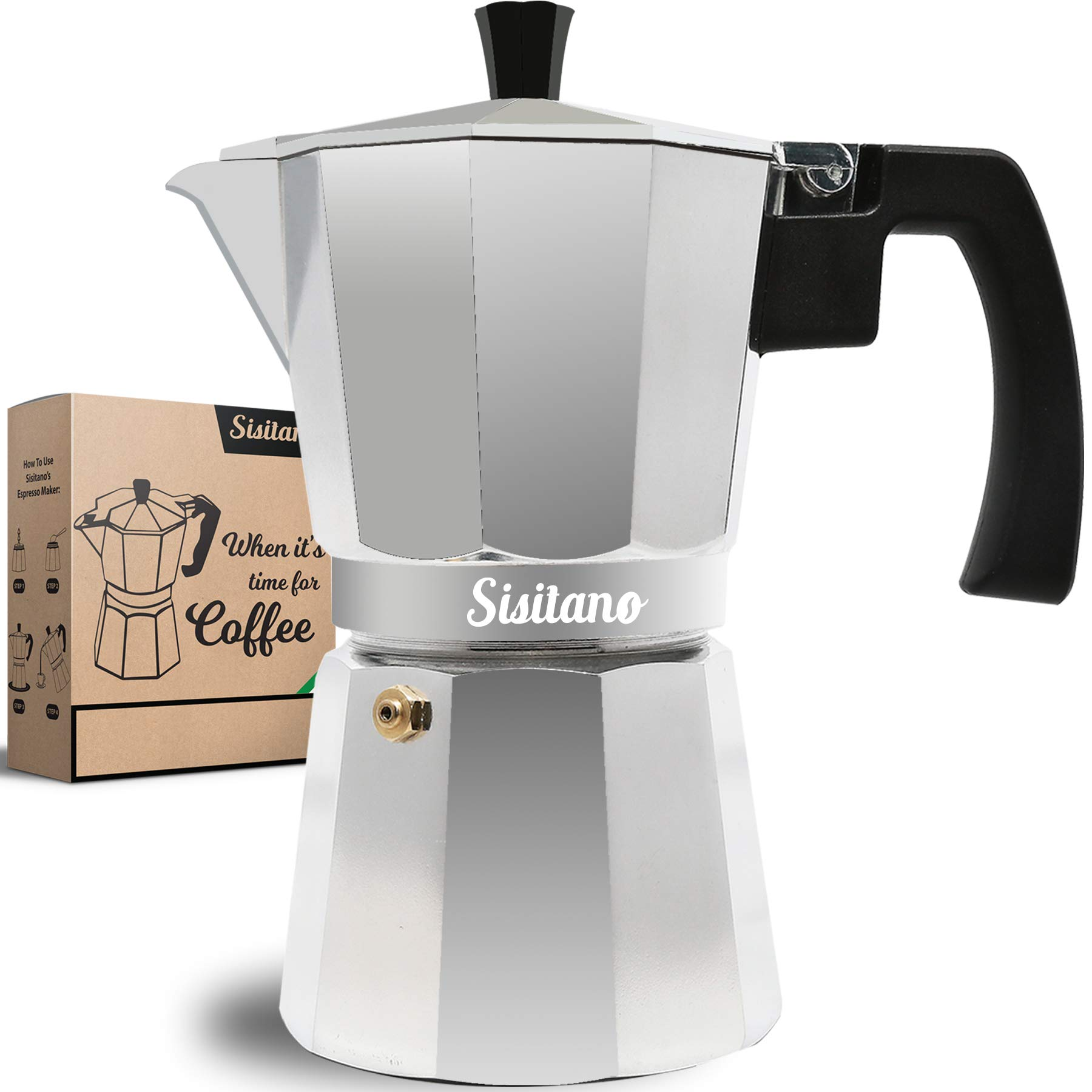 Moka Pot 6 Cup Sisitano Coffee Maker Stove Top Moka Express With Latte Art Set For Making Delicious Italian Espresso Free Coffee Accessories