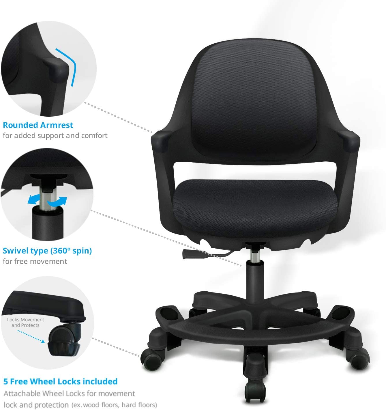 SitRite Ergonomic Kids Desk Chair Children Study Student Computer Home School Office Height Control Easy To Assemble (Piano Black)