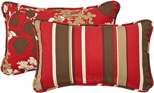 Amazon Com Pillow Perfect Outdoor Indoor Monserrat Montifleuri Sangria Lumbar Pillows 11 5 X 18 5 Red 2 Count Home Kitchen