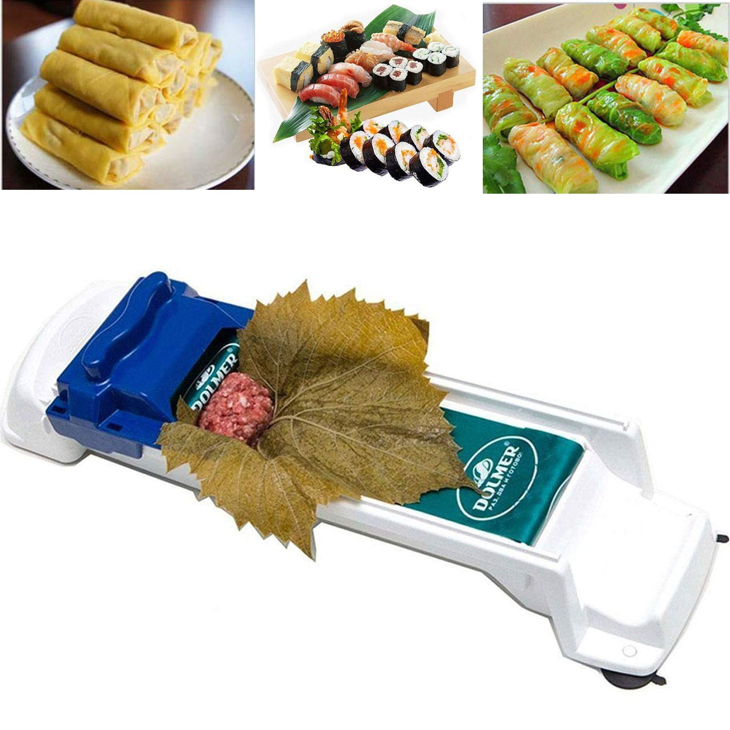 AUOKER Dolma Roller, Sushi Roller Meat Rolling Tool for Beginners and Children Stuffed Grape & Cabbage Leaves, Rolling Meat and Vegetable - Kitchen DIY Sushi Maker Meat Sarma Rolling Tool Machine by AUOKER