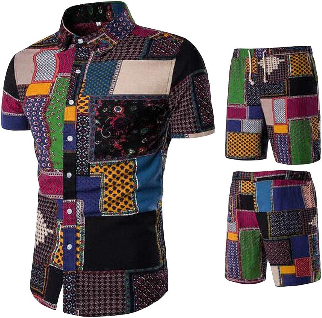 Jotebriyo Mens Summer 2 Piece Outfits Ethnic Print Shirt /& Beach Shorts Tracksuits