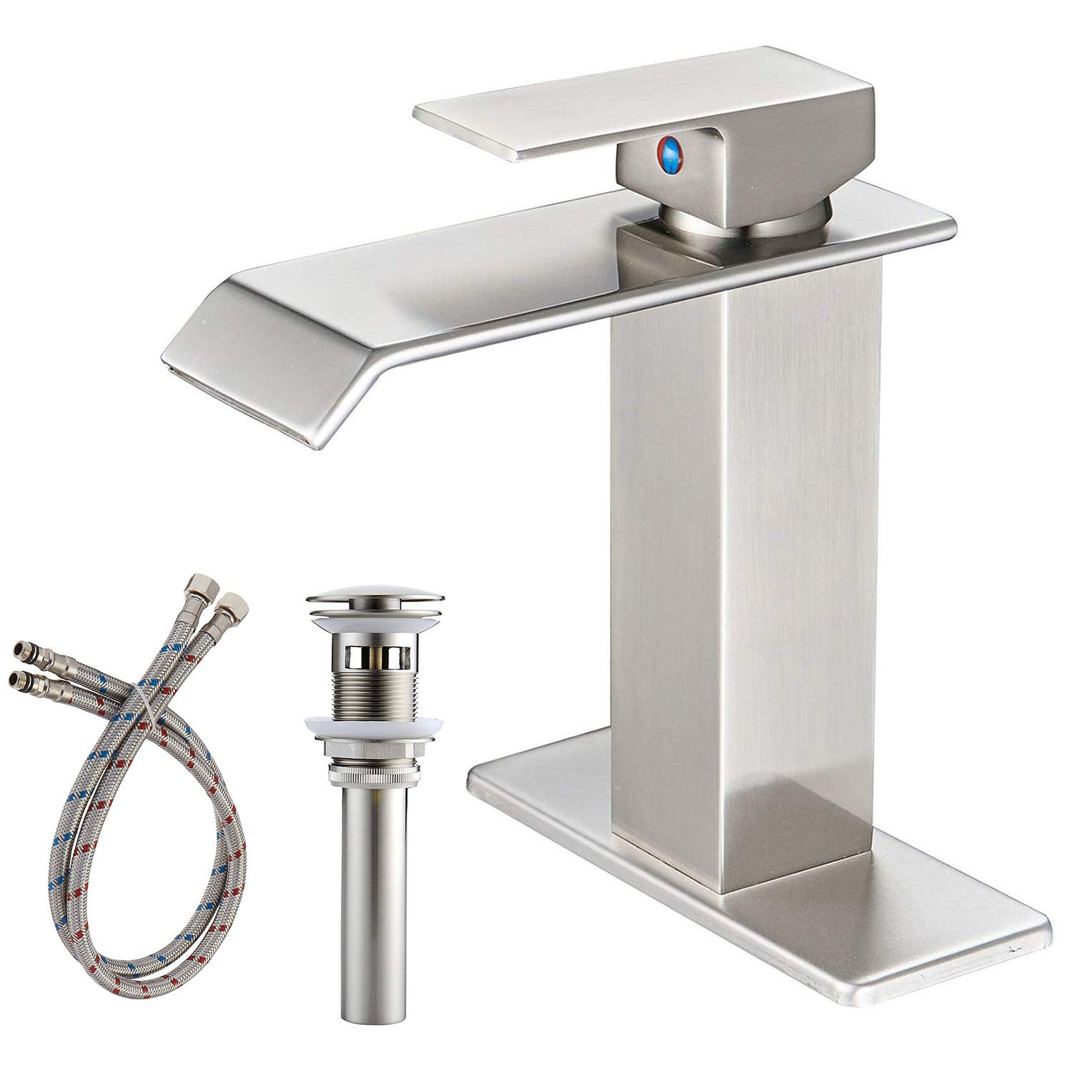 BWE Waterfall Commercial Spout Brushed Nickel Single Handle One Hole Bathroom Sink Faucet Deck Mount Lavatory by BWE