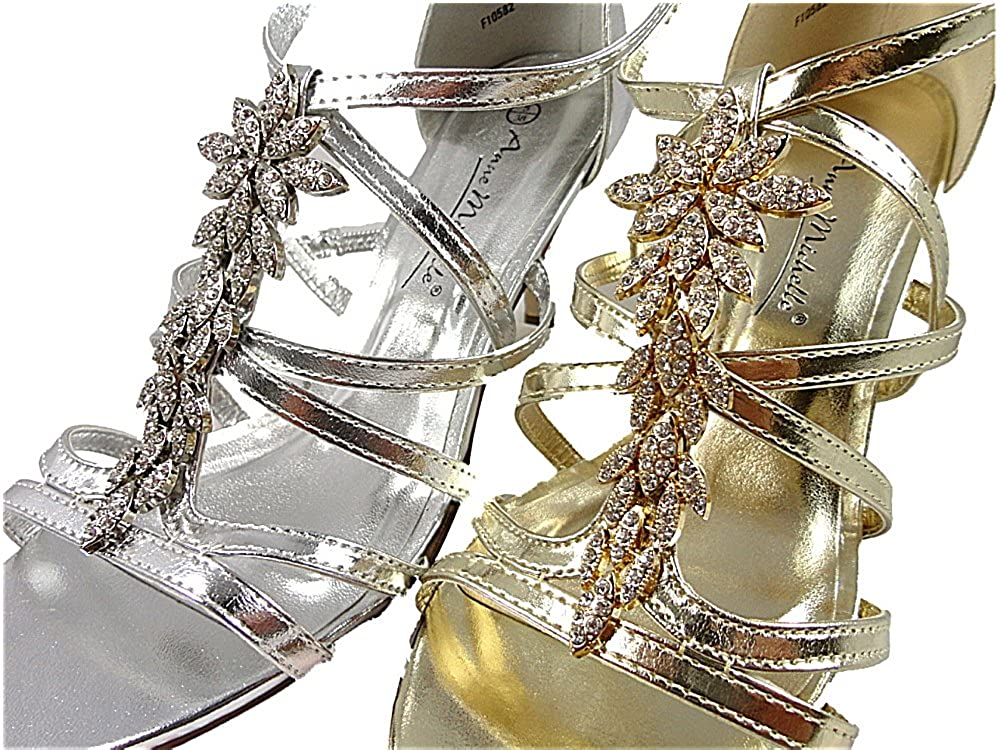 31802fccdfb WOMENS DIAMONTE EVENING WEDDING STRAPPY SANDALS MID HEEL SILVER GOLD   Amazon.co.uk  Shoes   Bags