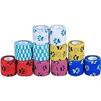 Balacoo 12pcs Nonwovens Pets Bandages Cohesive Bandages Wraps Animal Bandages (Mixed Color)