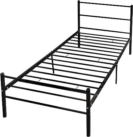 Cama somier rígido, HST Mall marco de la cama simple de metal marco base-3ft-for niño o adults-2 headboards-deep negro