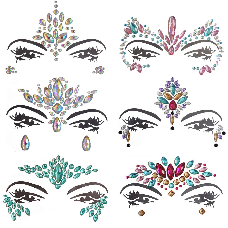 Inifty 6 Sets Women Rhinestone Mermaid Face & Breast Jewels Tattoos, Body Sticker Crystal Tears Gem Stones Bindi Temporary Stickers (Style 1)