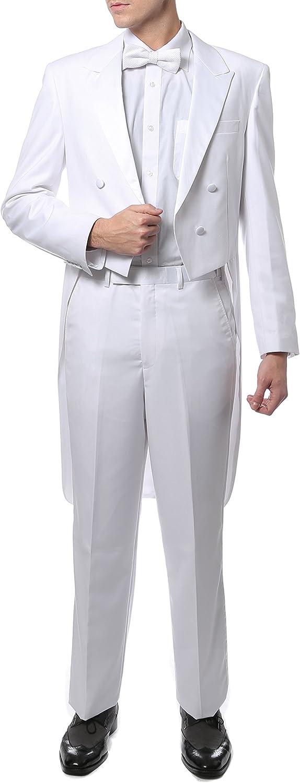 New Vintage Tuxedos, Tailcoats, Morning Suits, Dinner Jackets Ferrecci Men's Regular Fit Peak Lapel Tailcoat Tuxedo Suit with Tux Pants & Tail Coat $110.00 AT vintagedancer.com