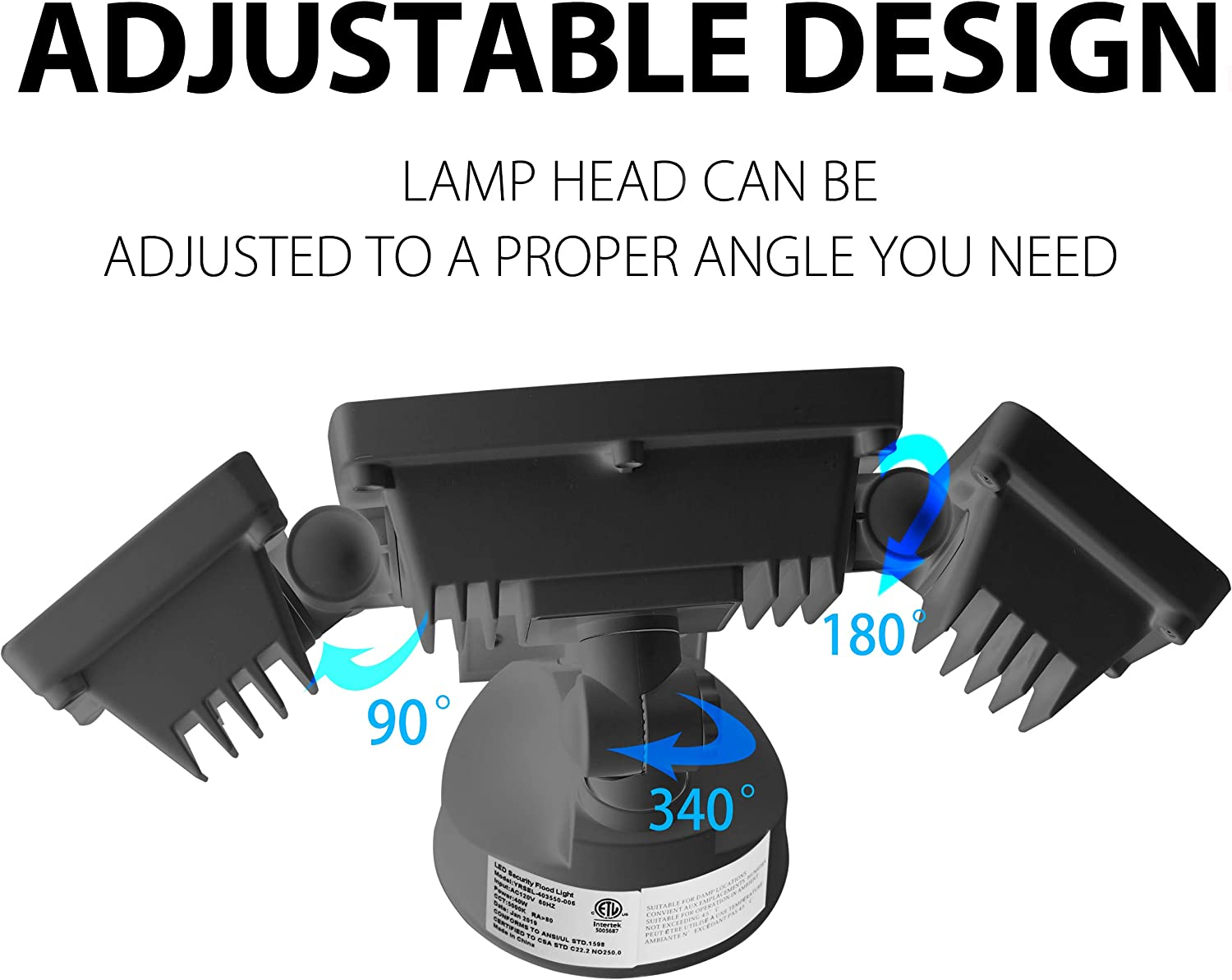 30W 5000K Super Bright Outdoor Flood Light Amico 3500LM LED Security Lights Outdoor Garden Patio 3 Head Adjustable IP65 Waterproof Porch/&Stair Exterior Light for Garage ETL Certificated