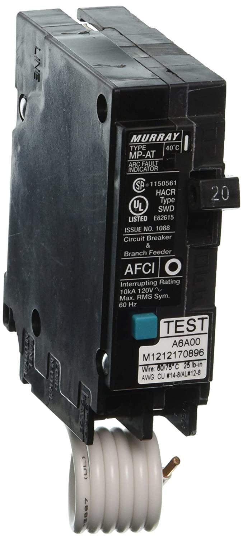 Murray Mp120afp 120 Volt Single Pole Arc Fault Circuit Breaker Clam Breakers Shell