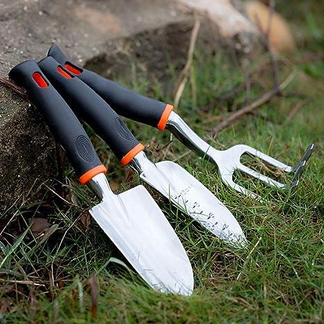 productos al aire libre Herramienta de jardín de Aluminio 3pcs Set repicadora + Paleta + rastrillo para césped de jardinería Herramientas Gadgets Yarda con Mangos ergonómicos: Amazon.es: Deportes y aire libre