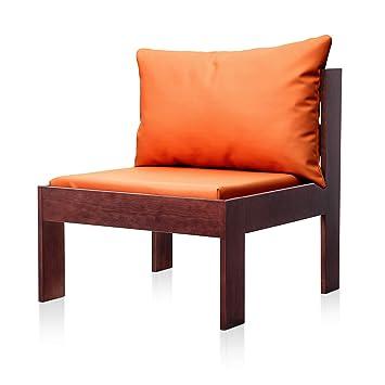 SUENOSZZZ - Sofa Jardin de Madera de Pino Color Nogal, MEDITERRANEO Mod. Respaldo, Sillon cojín Polipiel Color Naranja. Muebles Jardin Exterior. Silla ...
