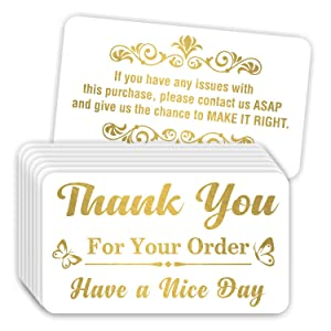 """Thank You for Your Order Purchase Cards (Pack of 100) Stunning Gold Foil Letterpress 3.5"""" x 2"""" Package Insert"""