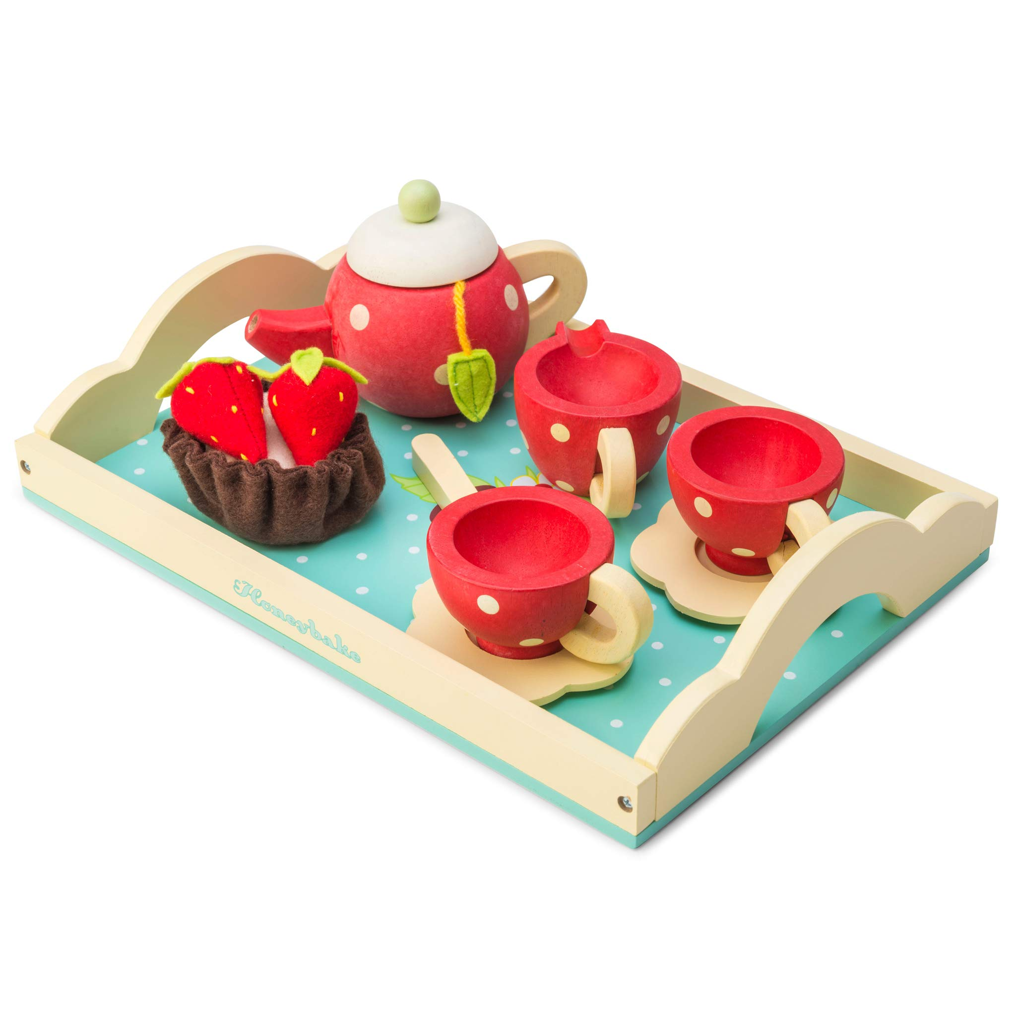 Le Toy Van Honeybake Tea Set - Strawberry Design Premium Wooden Toys for Kids Ages 3 years & Up by Le Toy Van
