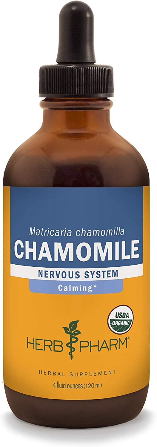 Herb Pharm Certified Organic Chamomile Liquid Extract for Calming Nervous System Support – 4 Ounce