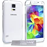 Yousave Accessories Samsung Galaxy S5 Case Crystal Clear Hard Hybrid Cover