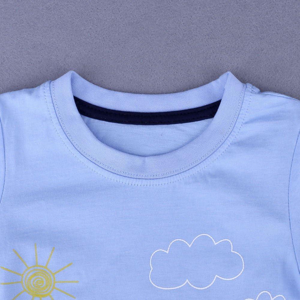 Topgrowth T-Shirt Bimbo Unisex Maglietta Bambino Manica Corta Applique Barca a Vela Felpa Estiva