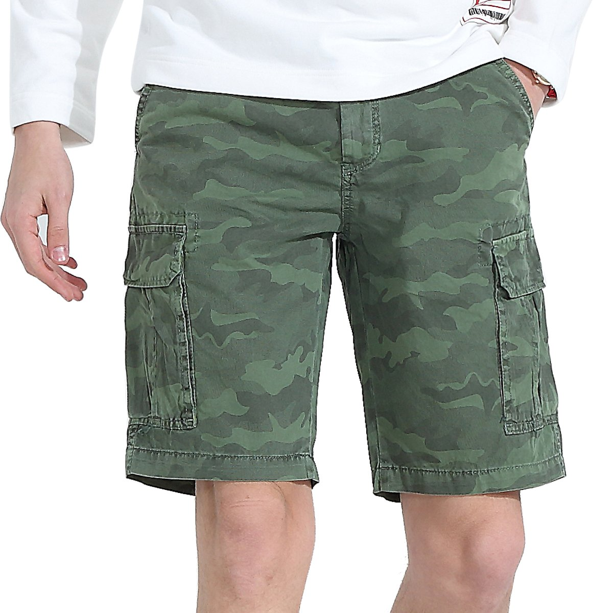 Mens Cargo Shorts Casual Work Tactical Camo Cotton Classic Big and Tall Outdoor Wear Army Workout Multi Pocket Relaxed Loose Fit Lightweight Urban Pants (Green, 36)