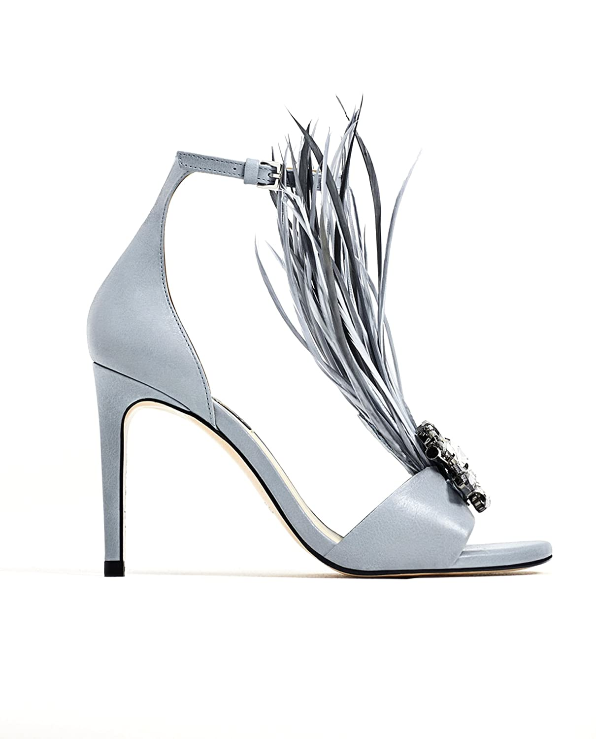 746e21c0dfb Zara Women High heel leather sandals with feathers 2680 201 (38 EU ...