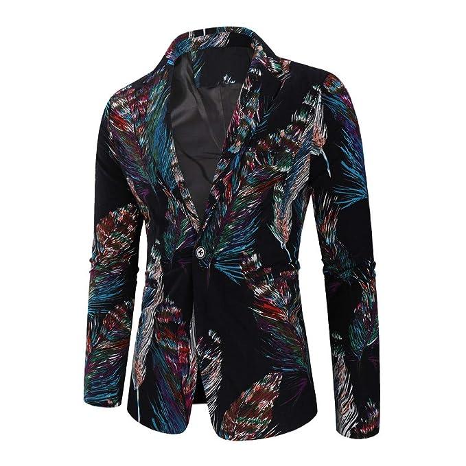 big selection how to buy excellent quality Goldatila Men's Suit Jackets Broken Dark Feather Print Long ...