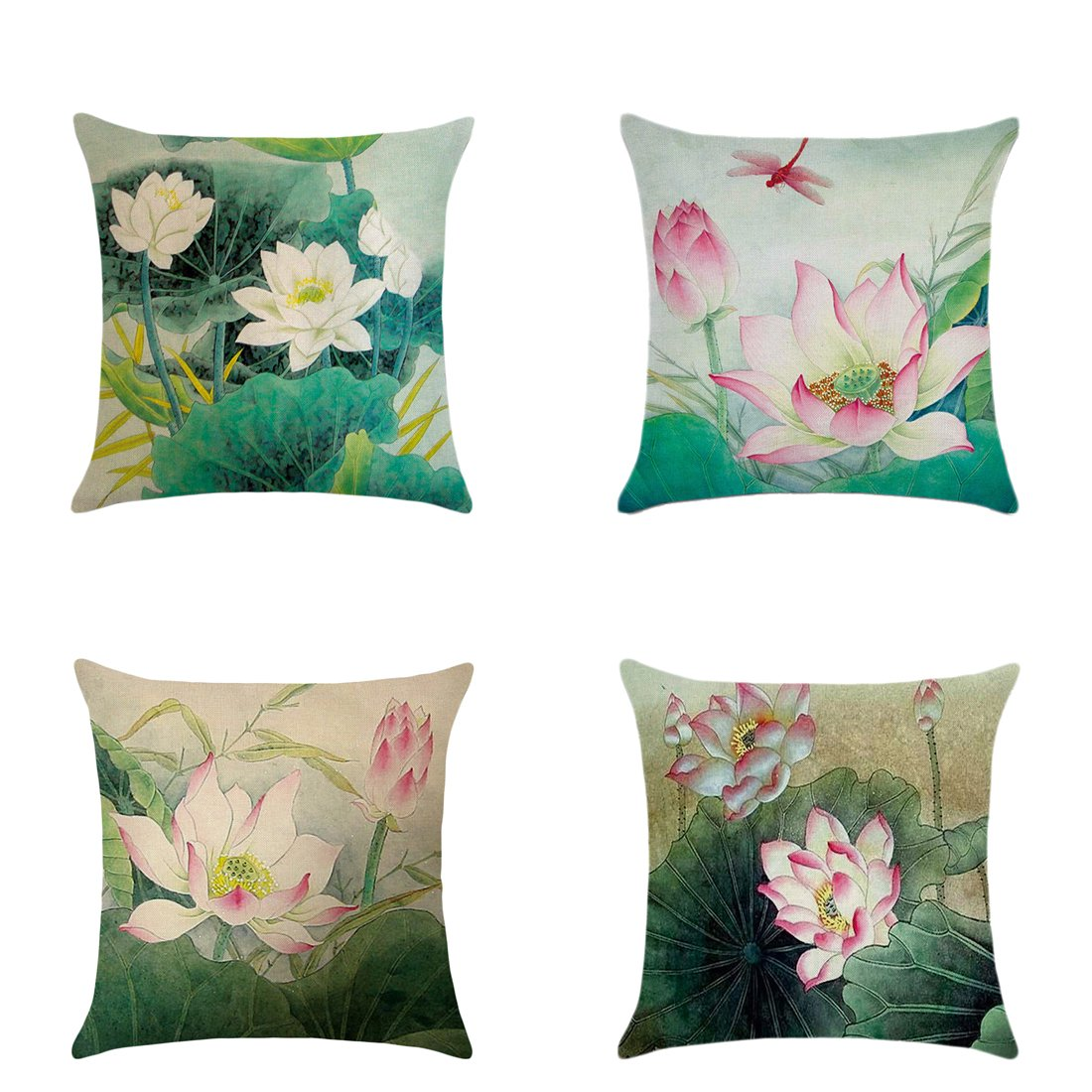 4pc Outdoor Living 45cm x 45cm LOTUS FLOWER Decorative Throw Pillow Cushion Cover for Couch, Bed, Sofa or Patio, No Insert