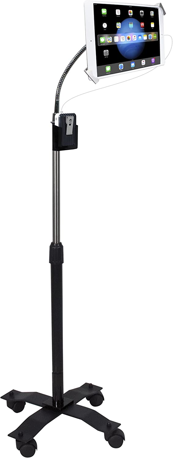 "CTA Digital: Compact Security Height-Adjustable Rotating Tablet Stand with Gooseneck, Locking Wheels for 7-14"" Tablets/iPad 10.2-Inch (7th Gen.), iPad Pro 12.9 (Gen. 3), iPad Air 3 & More, Black"
