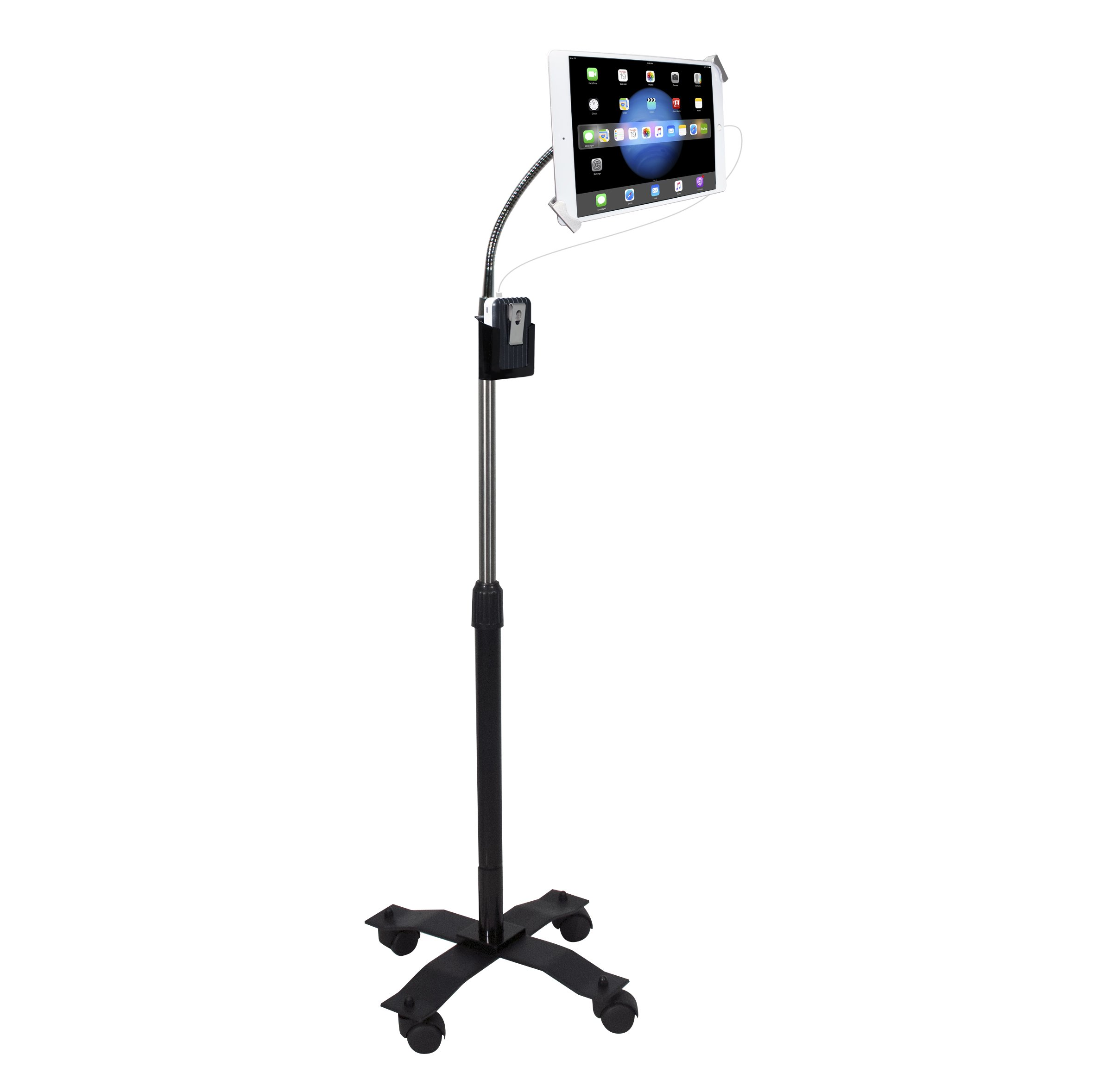 CTA Digital Compact Security Gooseneck Floor Stand for 7-13 Inch Tablets/iPad Pro 9.7, 10.5, 12.9/iPad (2017)/iPad mini/Surface Pro 4