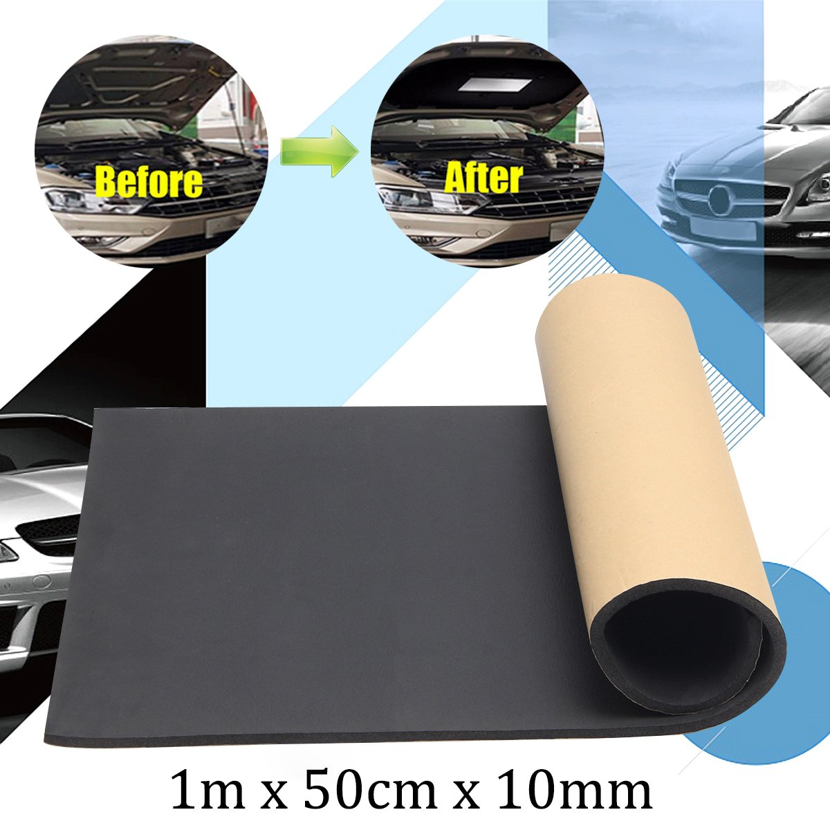 Jeteven 1m x 50cm High Density Foam Rubber Padding Roll Self Closed Cell Foam Waterproof Soundproof Insulation Thermal Foam Car Sound Deadening Mat 1m by Jeteven (Image #3)