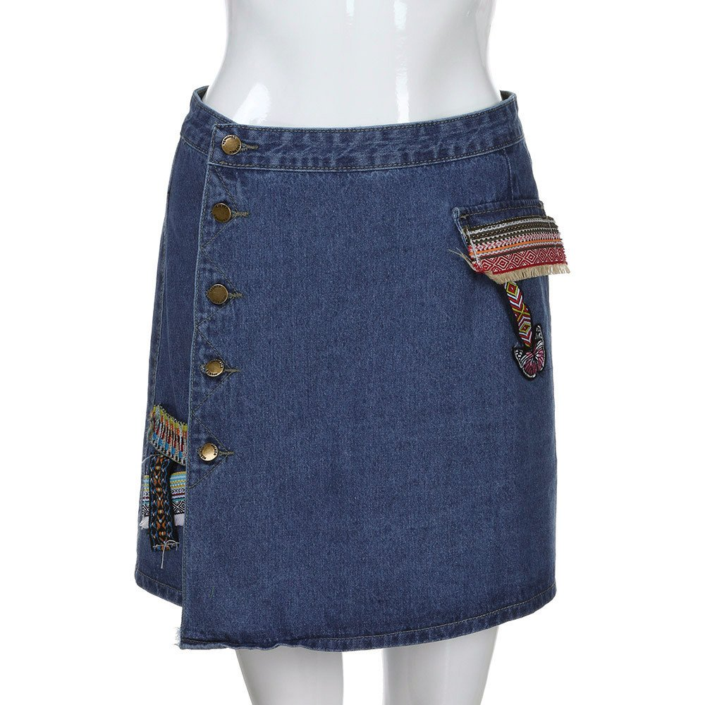 HCFKJ Faldas Mujer Cortas Falda De Cintura De La Moda De Las Mujeres Estilo Coreano Ni/ñAs Vaquero Mini Denim Falda Corta