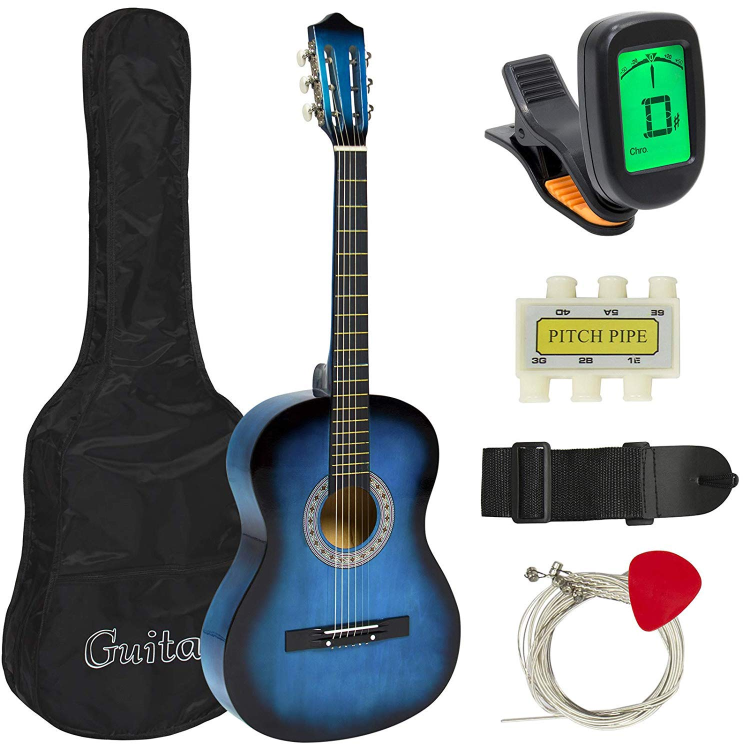 MEDA | Beginners 38 Acostic Guitar with Case, Strap, Digital E-Turner, and Pick (Black) 40189