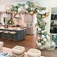LDFWAYAU Olive Green Balloon Garland Arch Kit DIY Party Decorations White Gold Confetti Balloons Sage Green Balloon and…