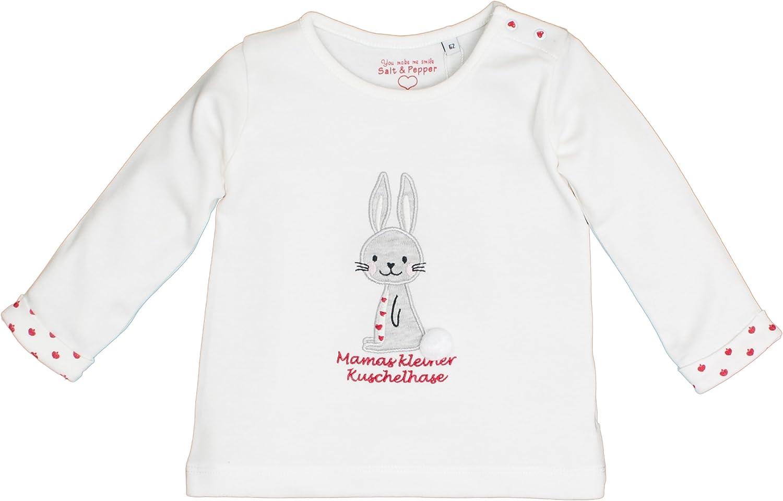 Off-White 011 Wei/ß Salt /& Pepper Baby-M/ädchen B Longsleeve Happy Uni Hund Langarmshirt 74