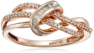 10k Pink Gold and Diamond Twist Ring (1/10 cttw, IJ Color, I2-I3 Clarity)