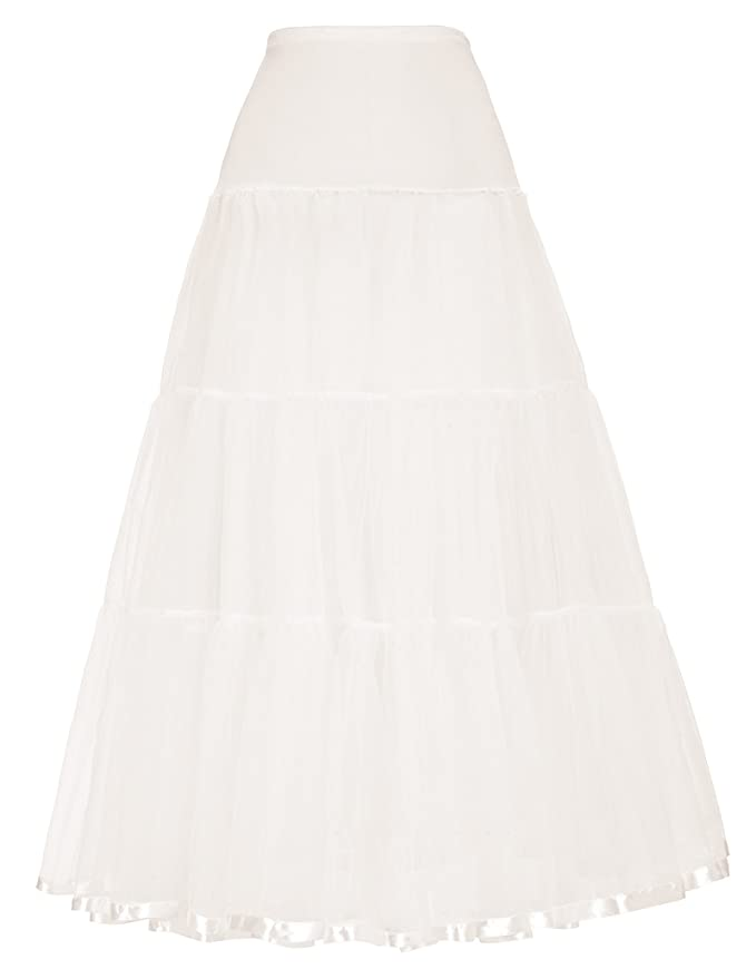 1940s Style Wedding Dresses and Accessories Long Petticoats Crinoline Wedding Bridal Slips Underskirts $16.99 AT vintagedancer.com