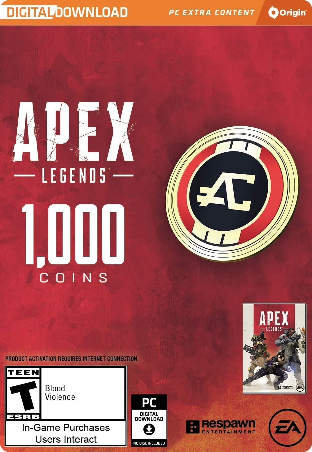 Amazon com: Apex Legends - 1,000 Apex Coins [Online Game