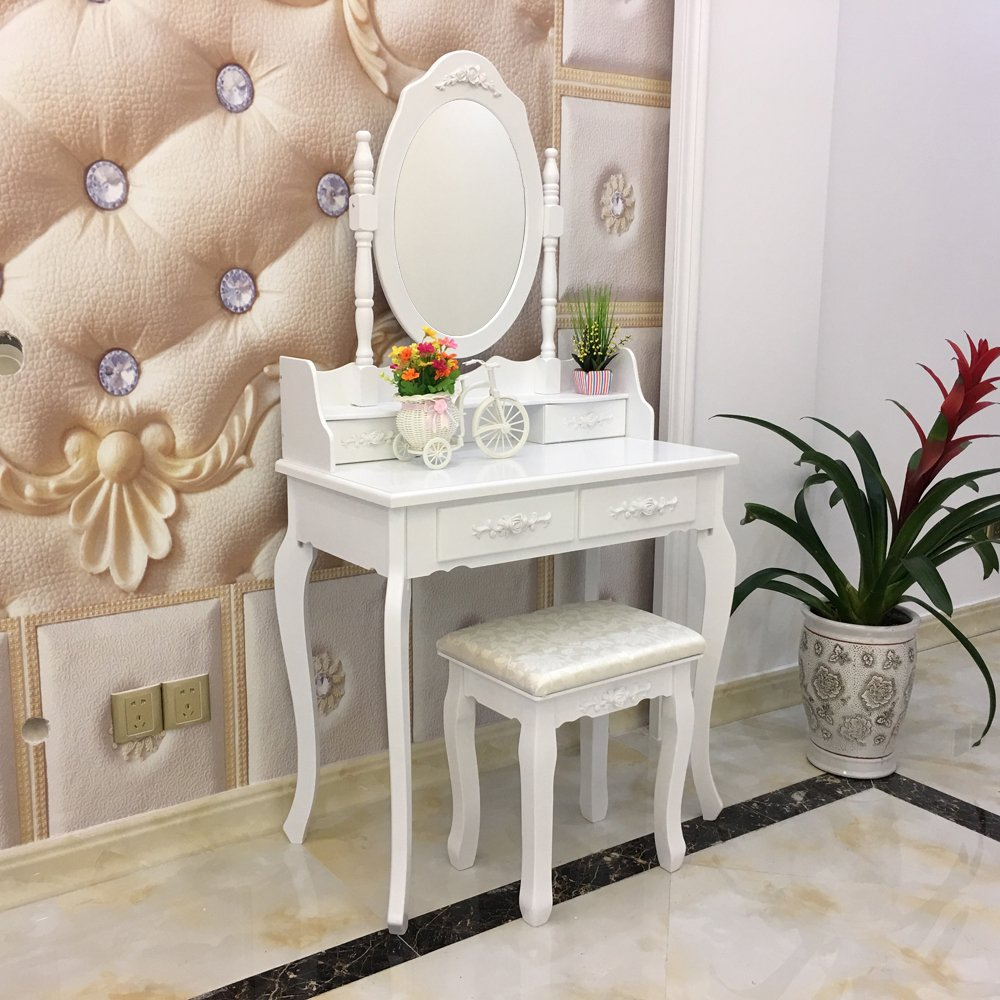 FCH Wooden White 4 Drawers Vanity Table Set Princess Vanity Makeup Table with Cushioned Stool by FCH (Image #2)