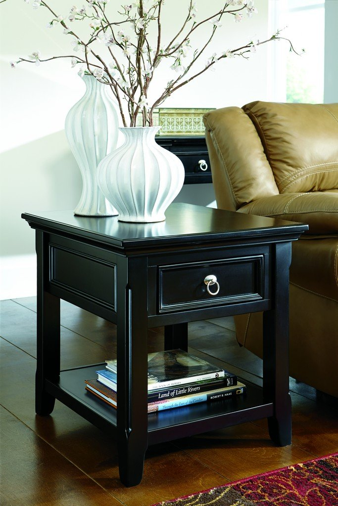 black living room end tables. Amazon com  Ashley Furniture Signature Design Greensburg End Table 1 Drawer and Fixed Shelf Vintage Casual Black Kitchen Dining