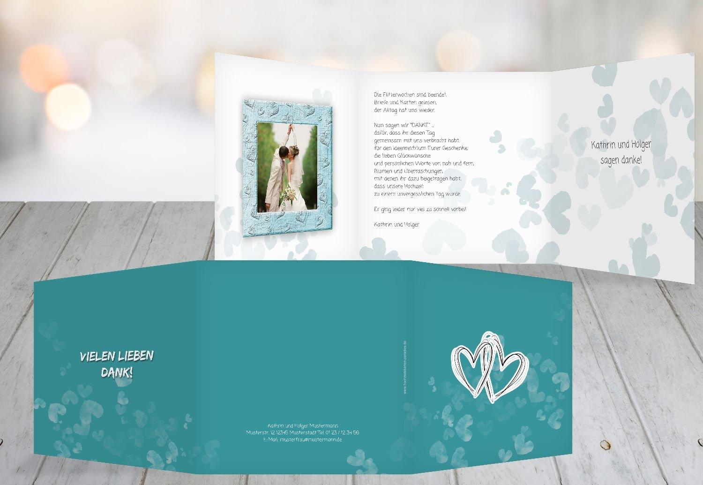 Kartenparadies Danksagung für für für Hochzeitsgeschenke Hochzeit Dankeskarte Liebesglück, hochwertige Danksagungskarte Hochzeitsglückwünsche inklusive Umschläge   20 Karten - (Format  145x145 mm) Farbe  Türkisblaukräftig B01NBW b0f02d